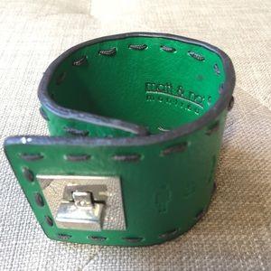 Matt & Nat Vegan Green Leather Cuff Bracelet